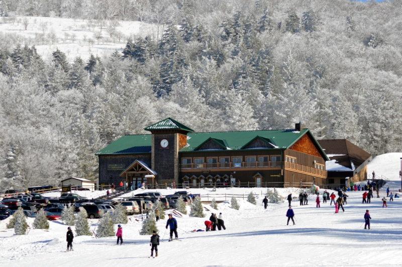 Skiers cavort at Canaan Valley Resort in West Virginia