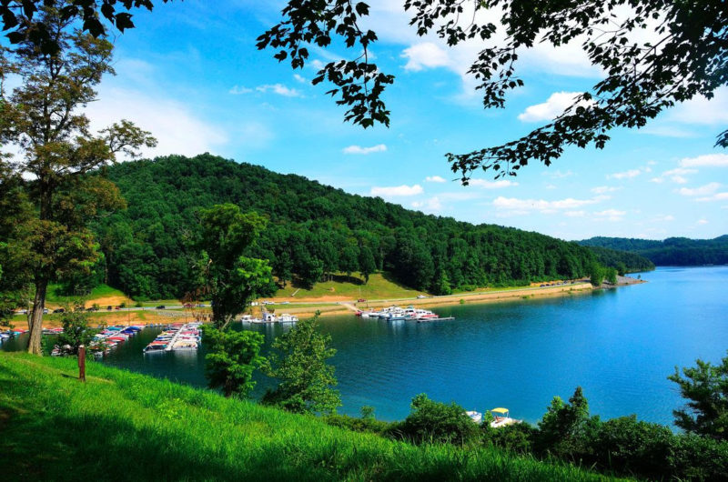 Boats dock at Tygart Valley Lake State Park, West Virginia