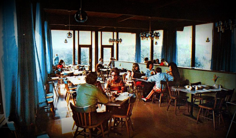 Visitors dine at North Bend State Park circa 1965