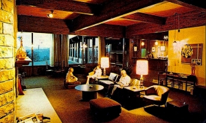 Travelers lounge in the lobby at North Bend Lodge.