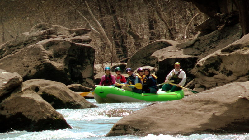 Paddlers explore a once-hidden landscape opening in the New River.