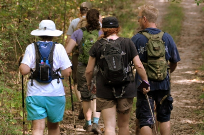Hikers explore a trail in the Grey Flats Trail System at Beckley, W.Va.