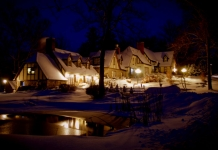 The Hillbrook Inn & Spa in Charles Town on a snow evening