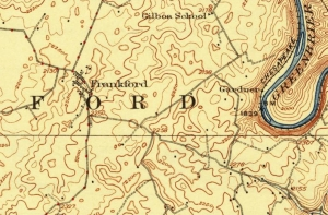 A historical map showing Frankford, W.Va., and the Greenbrier River.