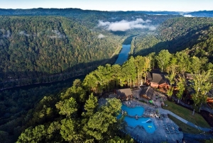 Dawn breaks on the New River Gorge at the resort at Adventures on the Gorge.