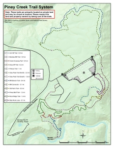 Map of Piney Creek Trails / Grey Flats Area