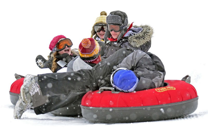 Snow tubers cavort at Canaan Valley Resort