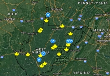 Map of 2018 Maple Syrup Days events in West Virginia