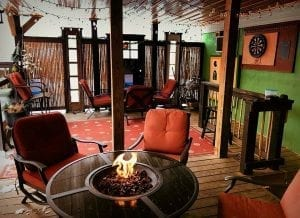 Outdoor gathering space at Maggies Pub