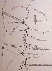 Olafson's map showing tree sites near Pax and Cirtsville