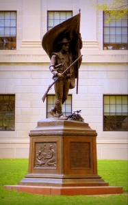 Monument to W.Va. Mountaineers stands on capitol grounds in Charleston.
