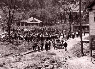Miners gather at a coal mining camp after a surrender at Blair Mountain, now on the National Register of Historic Places. Photo courtesy W.Va. Archives