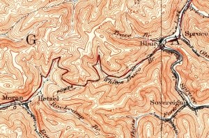 USGS Topo map showing road over Blair Mountain in south-central West Virginia.