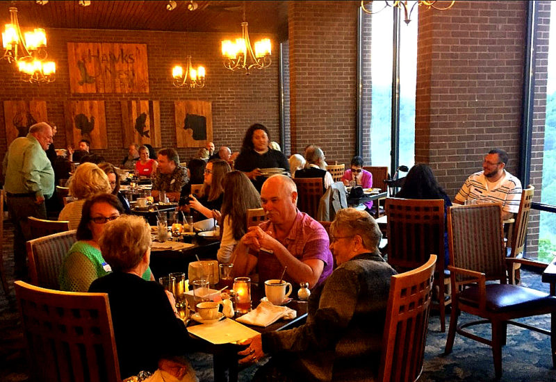 Diners gather at the restaurants at Hawks Nest State Park.