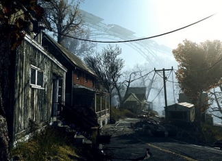 A screenshot from the new game Fallout 76 appears to show a ruined New River Gorge in the background.