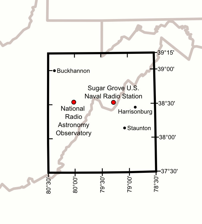 The National Radio Quiet Zone includes much of eastern West Virginia.
