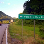 Polemic Run Road leads off the U.S. 19 expressway and into the hills along the Little Birch River.