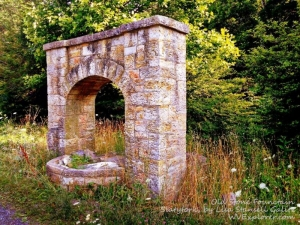 An old stone fountain near Slatyfork was built by the WPA.