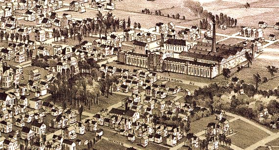 Detail from vintage illustration of Moundsville.