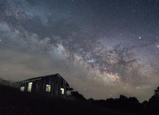 The Milky Way travels across the sky above Calhoun County.