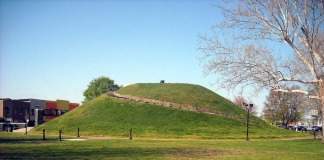 The South Charleston Mound, or Criel Mound, rises above central South Charleston.