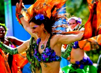 A dancer springs through a crowd at Culturefest, celebrated annually near Pipestem, West Virginia.