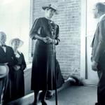 Eleanor Roosevelt at addresses homesteaders at Arthurdale, West Virginia.