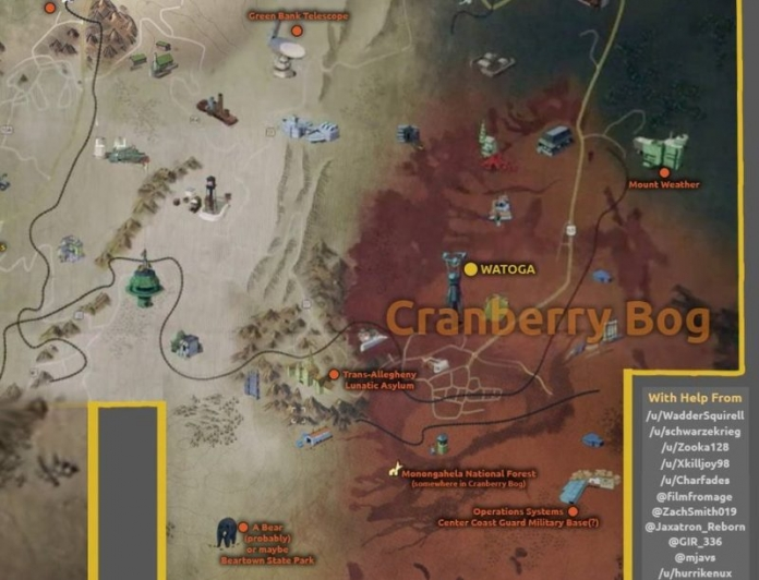 The Fallout 76 map of Cranberry Bog appears to be located in southeastern West Virginia.