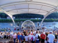 Spectators gather at Haddad Riverfront Amphitheater in Charleston, West Virginia.