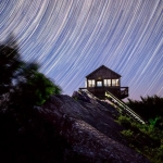 Stars spin above the Hanging Rock Raptor Observatory.