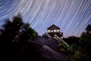 Stars spin above the Hanging Rock Raptor Observatory.