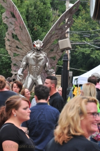 A metal sculpture of Mothman watches over crowds during the annual Mothman Festival at Point Pleasant, West Virginia.