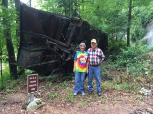 Sightseers stop along the site of an old wreck on the Buffalo Creek & Gauley.