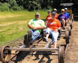Riders pedal along the old Buffalo Creek & Gauley Railroad, now a rail-trail near Clay, West Virginia.