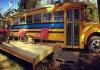 Cozy School Bus Conversion at Shepherdstown, West Virginia.