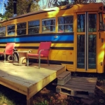 Cozy School Bus Conversion at Shepherdstown, West Virginia.