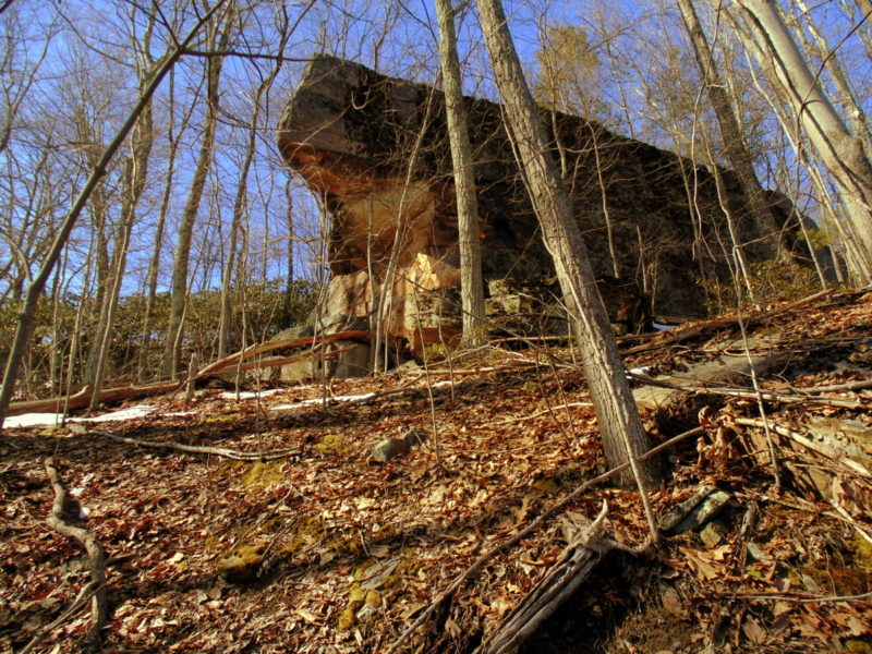 Ship Rock near the Nuttall Cemetery hangs over the Nuttallburg Headhouse Trail.