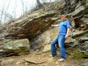 David Sibray points out the Lynco Petroglyphs as they appeared in 2011.