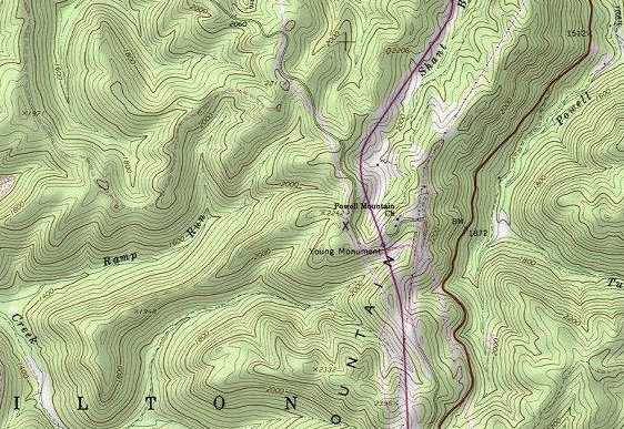 Portion of USGS map showing Young's Monument,and present site marked with X.