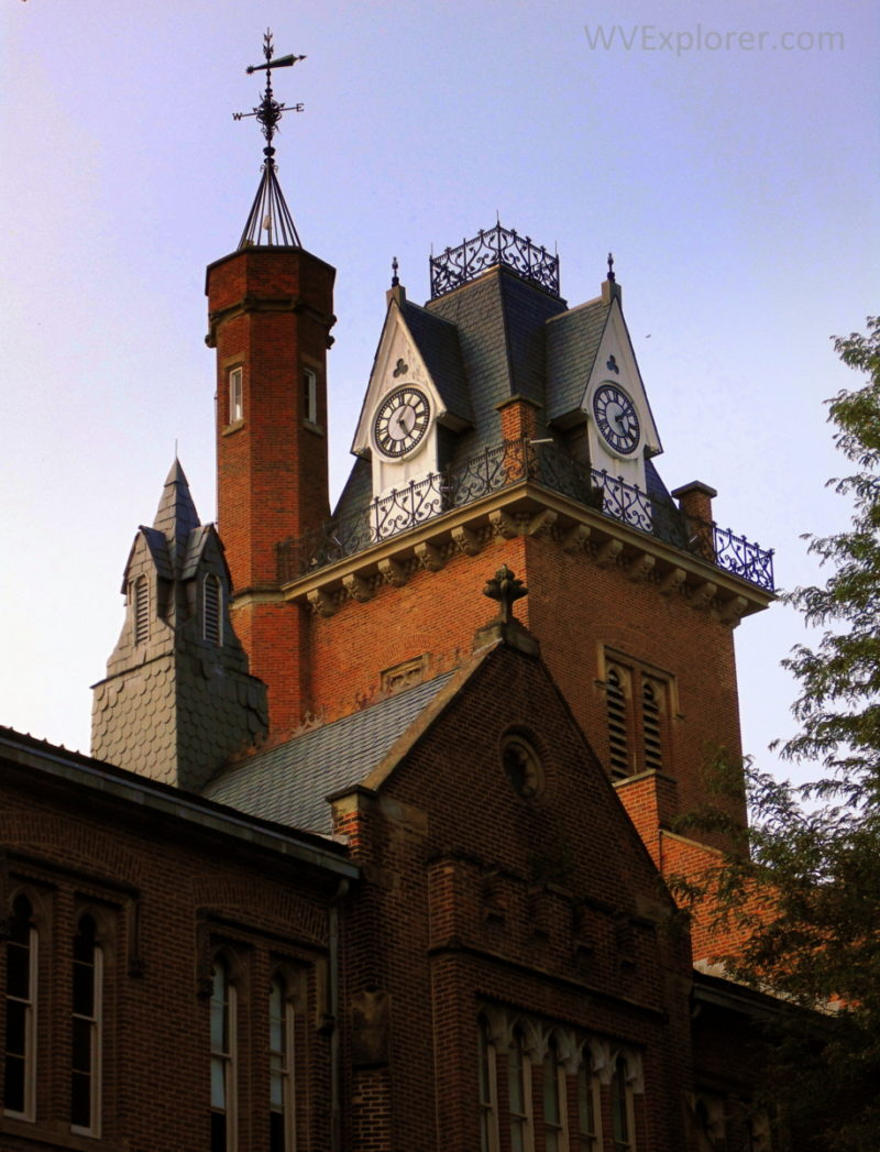 Castellated walls highlight the north wing of Old Main at Bethany College at Bethany, West Virginia (WV).