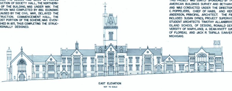 A detail from an architect's sketch of Old Main reveal symmetry and asymmentry.