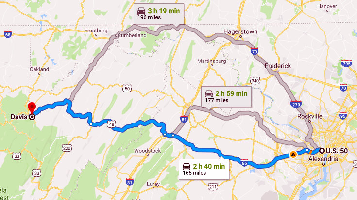 Google Map showing directions from Davis WV to Washington DC ...