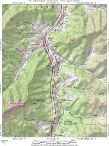 Topographic map of Pax, West Virginia, and surrounding Paint Creek Valley.