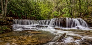 The falls of Mash Fork drop over a ledge in Camp Creek State Park.