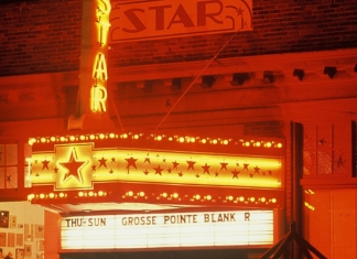 The marquee over the Star Theater in Berkeley Springs, West Virginia, glows in the Potomac night.