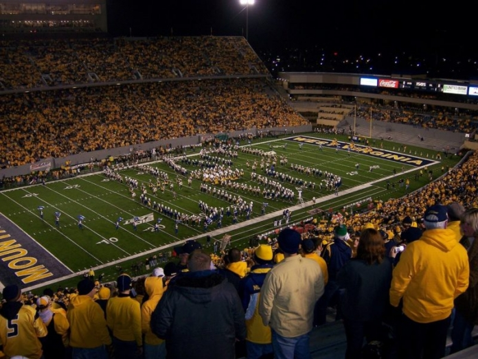 WVU fans take in a game at Mountaineer Field in Morgantown, West Virginia.