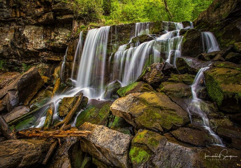 Wolf Creek Falls drops over a ledge in its descent into the New River Gorge near Fayetteville, West Virginia.
