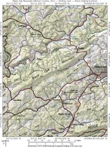 Map showing Black Oak Mountain near Princeton, West Virginia (WV).
