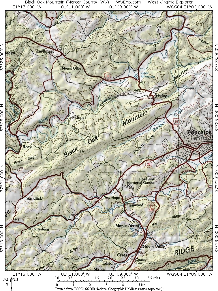 Map showing Black Oak Mountain near Princeton, West Virginia (WV).
