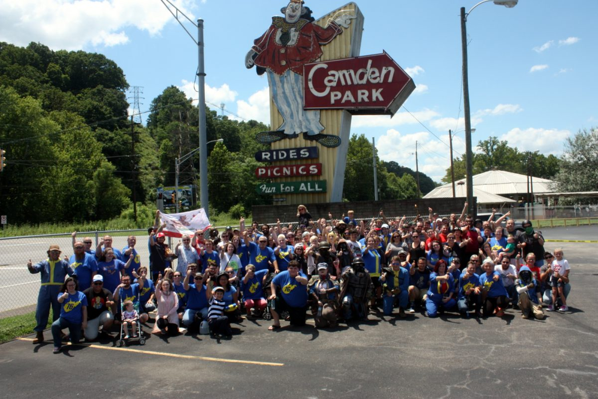 Fans of the Fallout 76 video game gather at Camden Park. Photo courtesy Brandon Helmes.